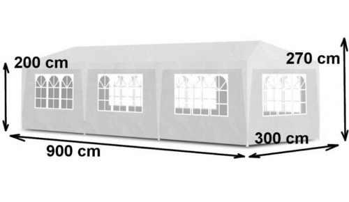 Bílý zahradní párty stan 3 x 9 M