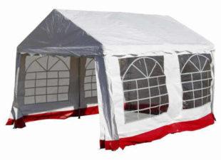 Bílý zahradní párty stan s červeným lemem 3 x 4 m