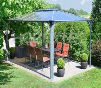 Hliníkové zastřešení terasy s polykarbonátovou střechou ACRUX 4,3x2,95 cm