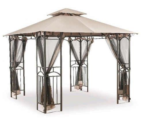 Luxusní zahradní altán s ozdobnou ocelovou konstrukci