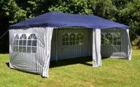 Pruhovaný modro-bílý párty stan 3 x 6 m na letní akce