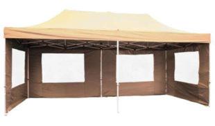 Rychlostavitelný béžový nůžkový párty stan 3 x 6 m