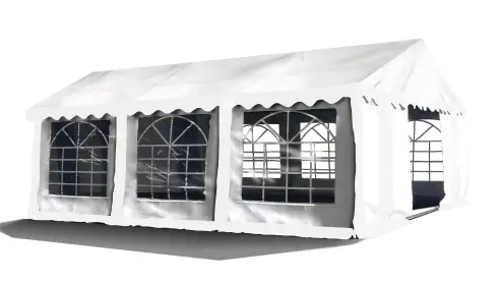 Bílý zahradní altán 3 x 6 m s velkými okny