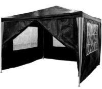 Černý párty stan 3 x 3 m se čtyřmi bočními stěnami