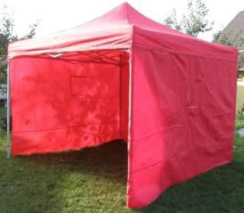 Červený nůžkový párty stan 3 x 3 metry ideální jako prodejní stánek na trhy