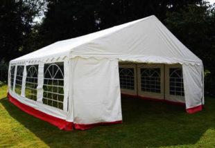 Zahradní stan - červeno-bílý, 6 x 8 m