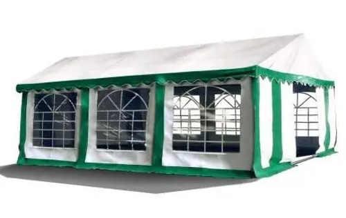 Zeleno bílý párty stan s velkými okny
