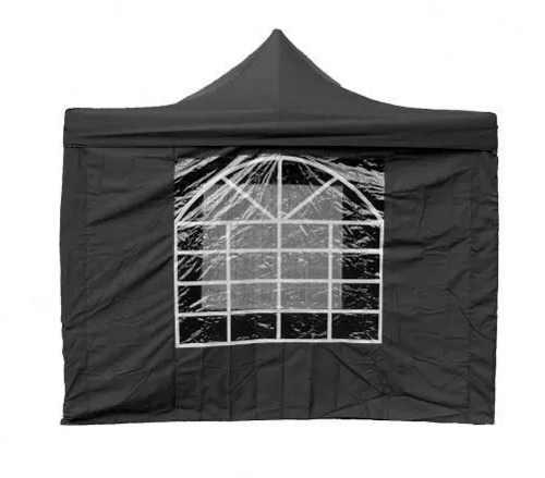 Černý nůžkový párty stan 3 x 3 m s velkým oknem