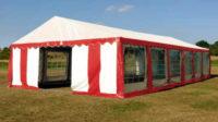 Červeno bílý párty stan 6 x 12 m pro velké svatby
