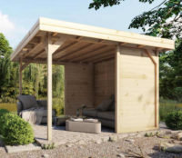Dřevěný zahradní altán 3,5x3,5 m se zadní zástěnou