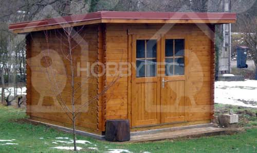 Dřevěný zahradní domek s dvojitými prosklenými dveřmi
