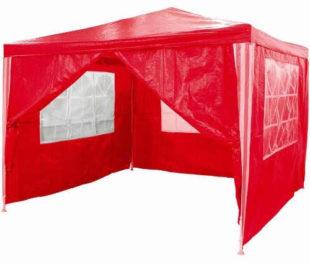 Zahradní párty stan - červený 3 x 3 m + 4 boční díly