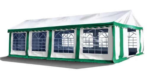Zeleno-bílý párty stan 4 x 8 m na venkovní akce