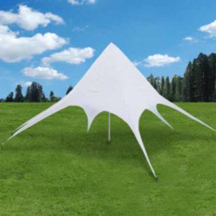 Atypický party stan 10x10 m ve tvaru hvězdy