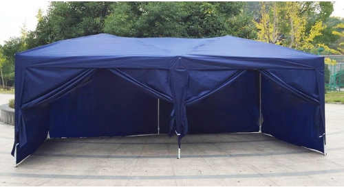Skládací modrý zahradní pavilon 3x6 m