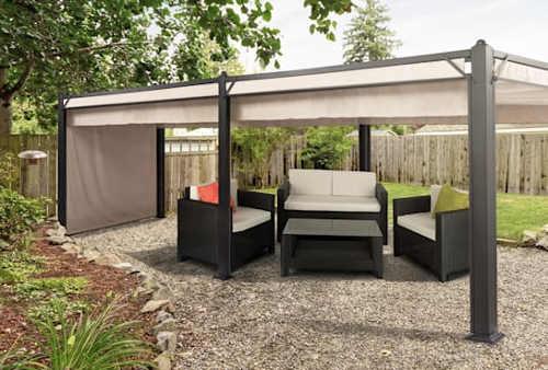 Moderní zahradní altán se zatahovací střechou a bočními stěnami
