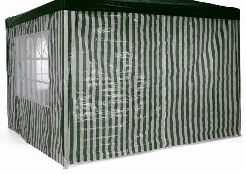 Zeleno-bílý zahradní párty stan 3 x 3 m se čtyřmi bočními stěnami