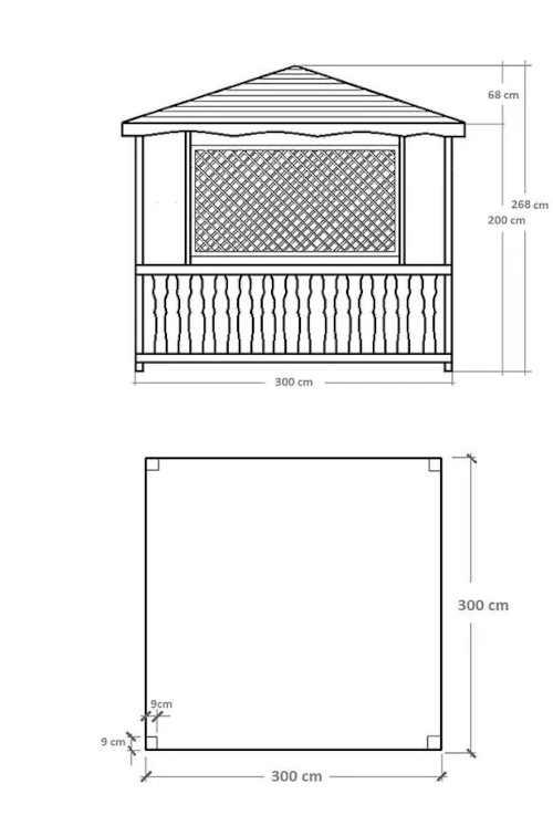 dřevěný altán v elegantním designu