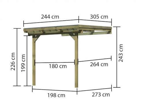 pergola ze dřeva ke zdi domu