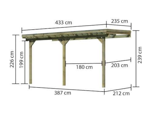 pergola ze dřeva ke zdi