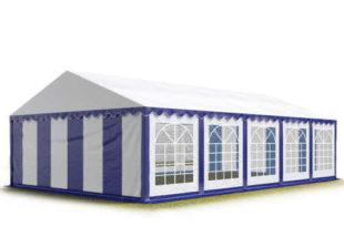 Modro-bílý párty stan o rozměru 5x10 m